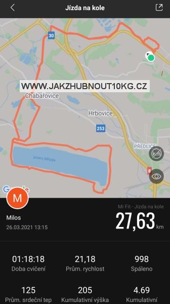 Statistika jízdy na kole ze smartwatch